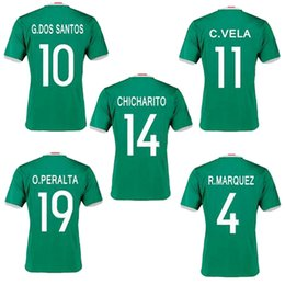 Wholesale C M Homes - New Mexico jersey 2016 CHICHARITO home green G.DOS SANTOS R.MARQUEZ C VELA thai quality Mexico soccer Jersey 2016 football shirt