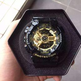 Wholesale Led Pointer Watch Mens - New Popular Mens Summer G Sports GA110 Watches Luminous LED Waterproof Climbing Digital S Shock Men 100 Watch All Pointer Work Original Box