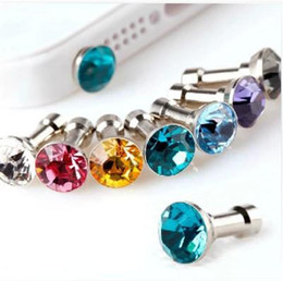 Wholesale Diamond Ear Cap - Diamond 3.5mm Anti Dust Proof Ear Cap Plug For iPhone 4 5 6 LG G2 HTC Samsung Colorful Bling Plugs Earphone Headphone Headset Cover