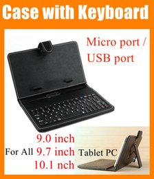 Wholesale Ipad Air Keyboard Black - 2 in 1 Black Leather Case 9 9.7 10.1 inch cover for Tablet PC Micro   USB port Keyboard & Folding Leather cover For ipad 2 3 4 5 air PCC016