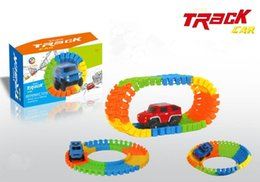 Wholesale Red Toy Jeep - 56pcs Electric Track Cars Flashing Lights Educational Jeep CRV Veichle Model Toys For Children Boys Birthday Christmas gifts package