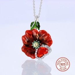 Wholesale wedding ring pendant - 925 Sterling Silver Earrings ring and pendant Enamel Handmade red rose Flower Engagement Earring For Women Cubic Zirconia Party Jewelry
