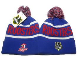 Wholesale Snow Hats Blue - Sydney Roosters NRL Team Winter Beanies Hats Blue for Men Women Ski Snow Pom Knit Beanies Caps Hot Sale DDMY