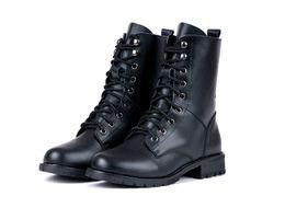 Wholesale Vintage Goth Biker - Winter Woman Motorcycle Boots Vintage Combat Army Punk Goth Ankle Shoes Women Biker PU Leather Short Boots 63