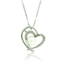 Wholesale Gifts For Girlfriends - Fashion Double Heart Pendant Necklace White Rhinestone Silver Plated Necklace For Girlfriend Romantic Valentines Day Gift Jewelry