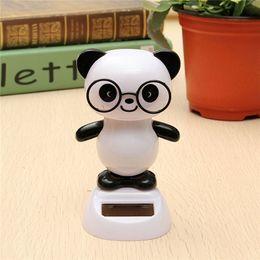 Wholesale Solar Flip - Wholesale- Solar Powered Glasses Panda Toys Flip Flap Swinging Shook His Head Doll
