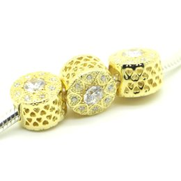Wholesale Silver Beads Bracelets Valentine - New 2016 Valentine Day 100% Authentic 14K Solid Gold Hearts of Gold Charm Bead Fits European Pandora Jewelry Bracelets & Necklace