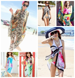 Wholesale Pink Pareo Wrap - Free Shipping Sheer Sarong Hawaii Pareo Beach Skirt Coverup Cruise Wrap Dress Mix Wholsesale Chiffon Cover up Wrap Shawl Dress Beach Sarong