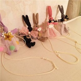 Wholesale Girls Fabric Necklace - Latest Korean Children Handmade Necklace Kids Hot Fabric Little Rabbit Sweater Chain Wholesale Five Colors Mix Styles Sweet Girls Jewelry