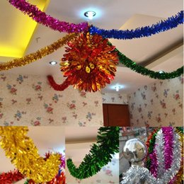 Wholesale Wholesale Christmas Tinsel - hot hot hot 100Strings 1.25M NEW CHRISTMAS GARLAND Tinsel 7 colors Color bar garlands mix color