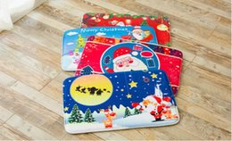 Wholesale Pvc Bath Mats - 7 Styles New 40*60cm Christmas Floor Mat HD Printed Non-Slip Kitchen Bath Mat Absorbent Waterproof Home Decor 100pcs