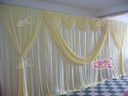 Wholesale Table Swags - New Design Pure White 10ft*20ft wedding stage decoration Wedding Backdrop with Beatiful Swag Wedding drape and curtain