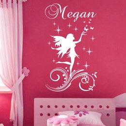 Wholesale Making Cartoon Movies - Customer-made a Fairy Little Angel Cartoon Wall Sticker Personalised Any Name Girls Wall decal for Kids Room Decor