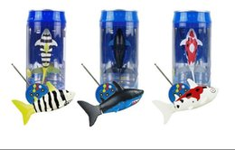 Wholesale Radio Control Fish - Interactive Mini RC Shark Under Water Coke Zip-top Pop-top Can RC Shark Fish 4CH Radio Remote Control 3-Colors