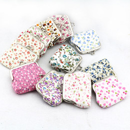 Wholesale coin change - Free Shipping Hot Selling Small Embroidery Flower Print Cute Cotton Fabric Mini Coin Purses Specie Wallet Change Pocket WI43