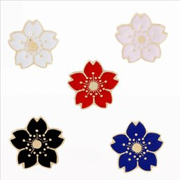 Wholesale Cherry Plum Blossom - trendy jewelry cute alloy women girl red big Plum blossom Brooches flower pin Cherry blossoms Sakura Brooch pins Corsage Thorn 2018 Hot 038