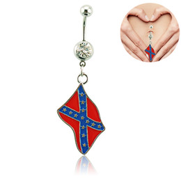 Wholesale Dangling Belly - Free Shipping Fashion Belly Button Rings Dangle 316L Stainless Steel National Flag Navel Body Piercing Jewelry