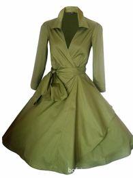 Wholesale Belted Suit Jacket - Wholesale- Tunic Rockabilly Windbreaker Women Long Bblazer Retro Big Swing Autumn Basic Coats Ladies Fall 2016 Vintage suit Jacket 50s 60s