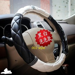 Wholesale Steering Wheel Cover Pu Leather - Auto supplies four seasons general vip jp dad rhinestone exhaust pipe diamond steering wheel cover leather for car