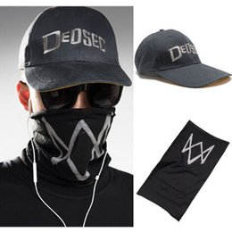 Wholesale Watch Cap Black - Unisex Black Face Mask Game Watch Dogs 2 WD2 Marcus Holloway Cosplay Dedsec Hat Cap Party Halloween Costumes Ball IC366955