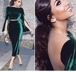 Wholesale White Velvet Tea Length Dress - 2017 Fashion Two Pieces Robe Dubai Vintage Green Velvet Evening Party Dress Short Formal Gowns Tea-Length Arabic Cocktail Dresses Vestido