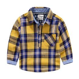 Wholesale British Plaid Shirt - 2016 Spring summer quality England British boys plaid shirt kids clothing shirts boy long sleeve t shirts wholesale size 2-3 3-4 4-5 5- 6 6