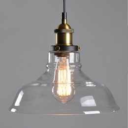 Wholesale Lamp Shades For Chandeliers - E27 Amber Glass Shade Ceiling Chandelier Fitting Vintage Retro Pendant Lamp Light Europe and America Style For Live Room YD33