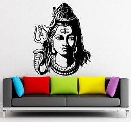 Wholesale God Wall Decal - 2016 God Shiva India Hindu Religion Wall Sticker home decor Wall Decals Vinyl Wallpaper Mural