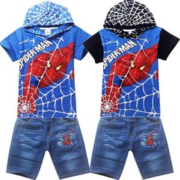 Wholesale Spider Man Jeans - 2015 summer spider-man suit The boy hoodie with short sleeves Children's jeans suit