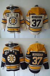 Wholesale Hockey Hooded Sweatshirts - 2015 Newest Wholesale Men's Boston Bruins #37 bergeron beige beige black Hooded Jerseys Hockey Hoodies Jerseys Sweatshirts, Free Shipping