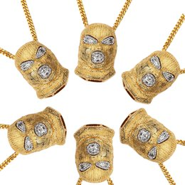 Wholesale W Ice - Xs917 Mens Hip Hop Iced Out Gold Color Goon Ski Mask Pendant W  36 inch Franco Chain Mens Pendants Necklaces Wholesale Jewelry