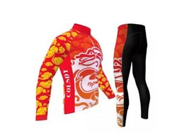 Wholesale Dragon Cycle Set - Free shipping,red dragon long sleeve cycling jersey & pants set for kids boys special bicycle wear winter fleece riding suit