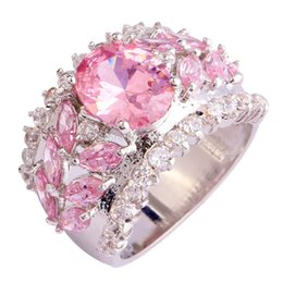 Wholesale Fshion Jewelry - Luxuriant Bohemia Style Women Jewelry Oval Cut Pink Topaz 925 Silver Fshion Jewelry Ring Size 7 Wholesale Free Shipping