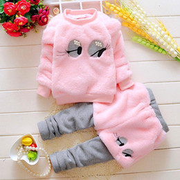 Wholesale Baby Girl White Tshirt - Baby Girls Sets 0-24Mons Kids Girls Tshirt + Pants 2pcs Suits Newborn Infant Warm Cartoon Outfits 2017 Pink White Winter Children Clothing