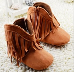 Wholesale Red Moccasin Boots - Baby Moccasins Soft Leather Walkers Tassels Boots Children Babies Boys Girls Leather First Walker Shoes Toddle Shoes Kids Prewalker K6147