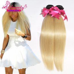 Wholesale Malaysian Virgin Hair Weave 2pcs - 7A Indian Dark Root Blonde human Hair weaves Straight 2pcs bundles Two Tone 1b 613 Ombre Indian Virgin Hair Freeshipping
