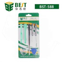Wholesale Wholesale Packaged Tweezers - Repair Kit Opening Tools for iPhone 4 4S BST-588 Screw Driver & Pry Tool & Triangle Picker & Vacuum Sucker & Tweezers Retail Package AZ0007