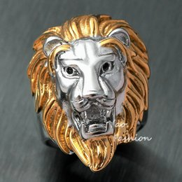 Wholesale Stainless Ring Lion - Men's Huge Gold Silver Tone Lion 316L Stainless Steel Biker Ring King Of Animal Head Face Leo Punk Fashion Jewelry X'mas Gift