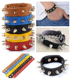 Wholesale Leather Spiked Wristbands Wholesale - Wholesale-Fashion Punk Rock Mens Womens Rivet Stud Spike Leather Bangle Bracelet Wristband