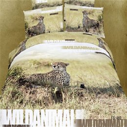 Wholesale Cheetah Bedding Sets - Wholesale-Wild Animal Printed Cheetah 3D Bedding Set Queen Size 100% Cotton Textile Sets 4pcs include Duvet Cover Bed Sheet Pillowcase
