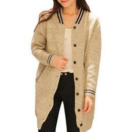 Wholesale Cardigan College Sweater Women - Wholesale- Spring Fall Cardigan Women New Winter Sweater Knit Triped Baseball Coat College Wind Long Jumper Clothing Vestidos LXJ256
