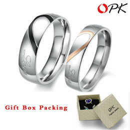 "Wholesale Promises Rings For Couples - OPK JEWELRY 2 rings Free Box! ""Real Love"" 316L Stainless Steel half Heart Couple ring for Wedding  Engagement hot promise ring"