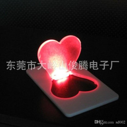 Wholesale b t s - Practical Flash Christmas Lamp Energy Saving Heart Shape LED Card Lights Folding Pocket Cards Light For Wedding Decorations 1 28jg B