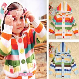 Wholesale Girls Coats Kids Hooded Sweater - Retail baby girls sweater 2015 fashion striped children cardigan outwear long sleeve boys hooded coat kids clothes 201507HX