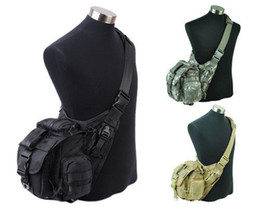 Wholesale Molle Utility Shoulder - Wholesale-3 Colors 1000D Tactical Molle Utility Shoulder Pouch Black Tan ACU sports bag free shipping