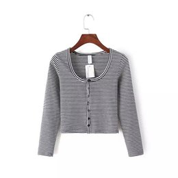 Wholesale Tight Thin T Shirts - Striped T Shirt Long Sleeve Tee Shirt Casual Tops Short Style Sexy Crop Tshirt Women Button Cardigan Tight Female T Shirt Thin