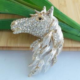 Wholesale Gold Tone Wedding Jewelry - Gold-tone Crystal Rhinestone Horse Brooch Pin Art Costume Deco Jewelry EE06535C1