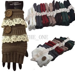 Wholesale Gloves Hole - knitted arm warmer glove hand arm winter warm warmer fingerless gloves with vintage lace trim button gloves thumb hole with two shank button