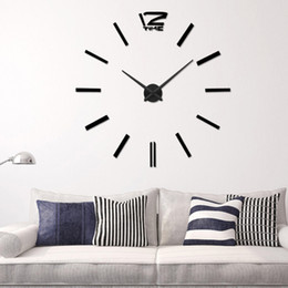 Wholesale large lighted wall mirror - Recommend ! Quartz Diy 3D Wall Clock 20 Inch Large Clock Watch Best Acrylic Mirror Metal Wall Stickers Clocks Home Decoration
