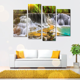 Wholesale Canvas Scenic Paintings - Four Scenic Cascade Wall Spray Decorative Painting Living Room Bedroom Sofa TV Background Wall Oil Ink Spray Painting - 11348